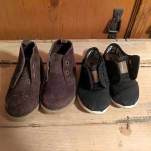 Boys 4T and 6T boots and velcro sneakers